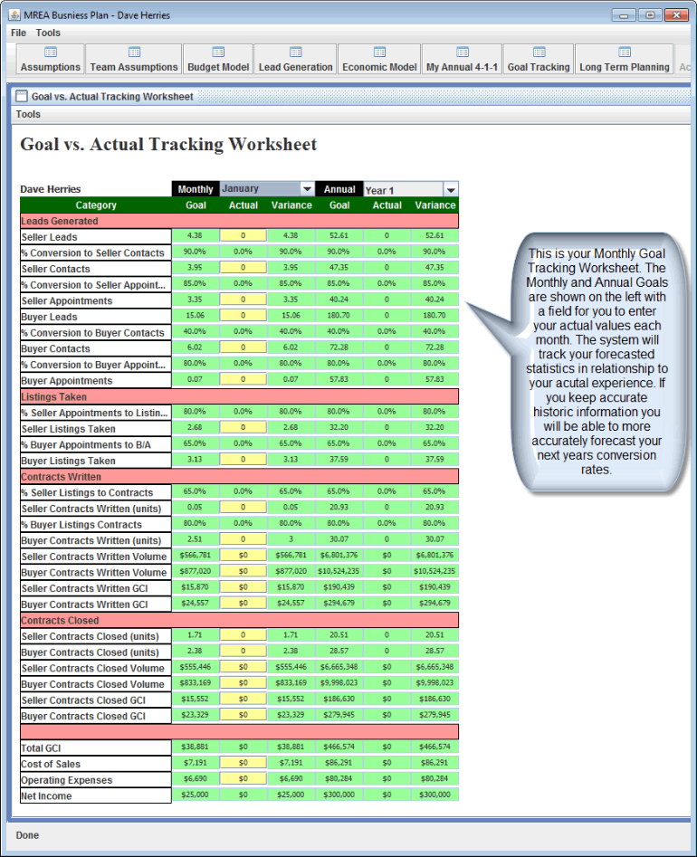 Mrea business planning spreadsheet